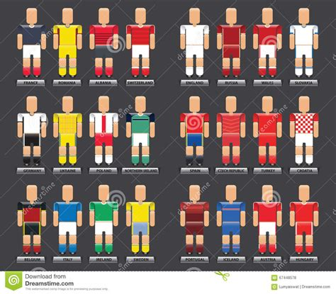 Tshirt Uefa 2016 Russia 2 Roffico Cloth 2016 vector flat style infographic set of football t