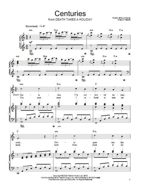 printable centuries lyrics centuries sheet music direct