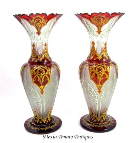 Bohemian Vases by Pair Of Antique Bohemian Glass Vases In Sold