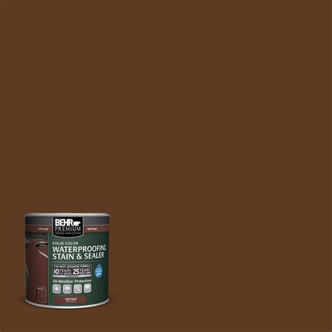 behr solid color waterproofing wood stain behr premium 8 oz sc 129 chocolate solid color
