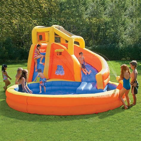 backyard inflatable pools banzai plummet falls adventure slide water park typhoon
