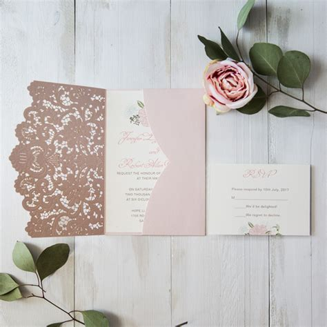 Pink Wedding Invitation Cards by Blush Pink Floral Laser Cut Wedding Invitation