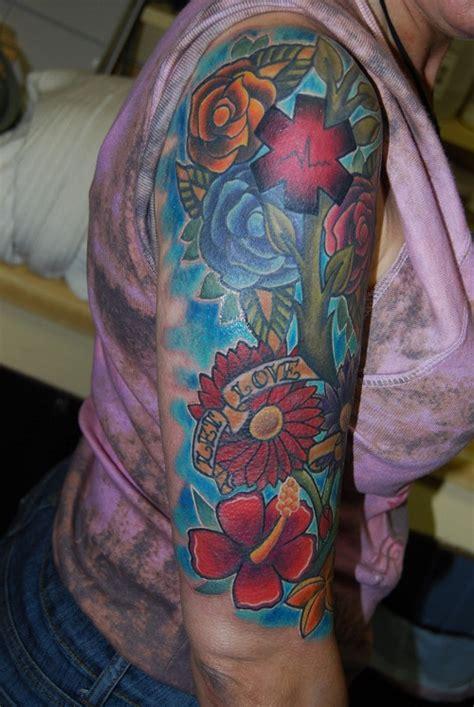 flower quarter sleeve tattoo ideas flower sleeve tattoos designs ideas and meaning tattoos