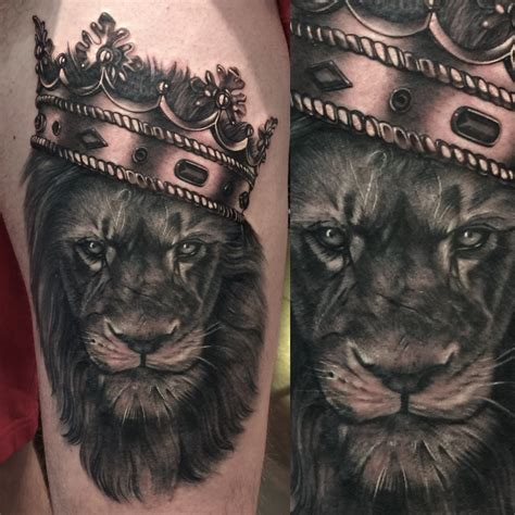 lion with a crown tattoo and crown tattoos lions crown