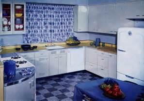 blue 1950s kitchen design double purpose kitchen side