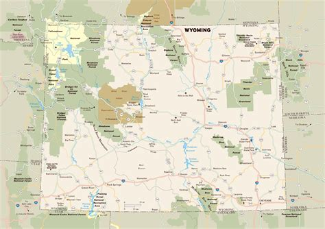 detailed map of wyoming large detailed map of wyoming with national parks