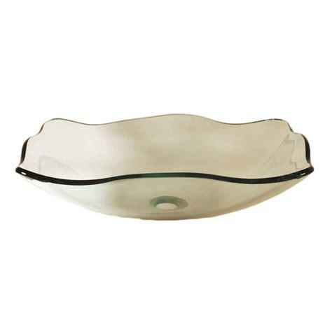 clear bathroom sink shop novatto elegante clear tempered glass vessel rectangular bathroom sink at lowes com
