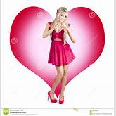 Beautiful Blonde Pin-up Girl Gesturing Love Symbol With Hands In Front ...