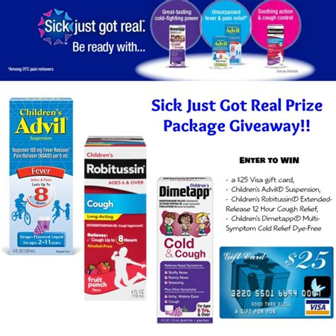 Pfizer Giveaway - pfizer pediatric products prize package giveaway sickjustgotreal