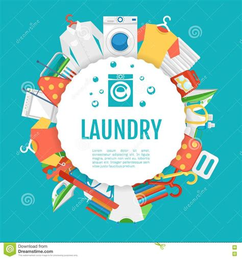 Laundry Design Poster | laundry service poster design icons circle label with