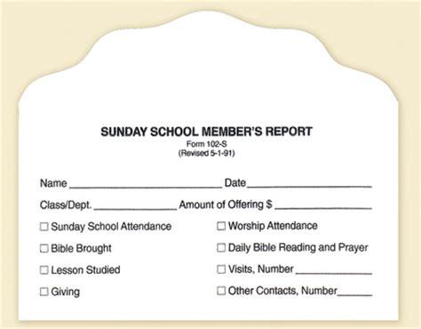 sunday school report card template sunday school member report envelope form 102 s b h