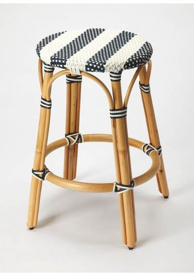 Rattan Backless Counter Stools by Black White Stripe Rattan Backless Bar Or Counter Stool