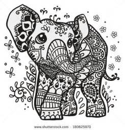elephant mandala coloring pages for adults black and white vector illustration of a baby elephant