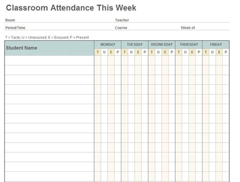 editable weekly classroom attendance sheet template with