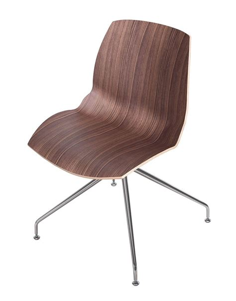 modern chair with wooden shell and metal structure idfdesign