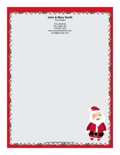 free printable santa letter borders stylized santa stationery