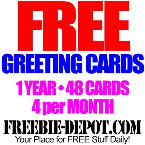 free greeting cards for one year 4 free cards per month 48 free personalized cards