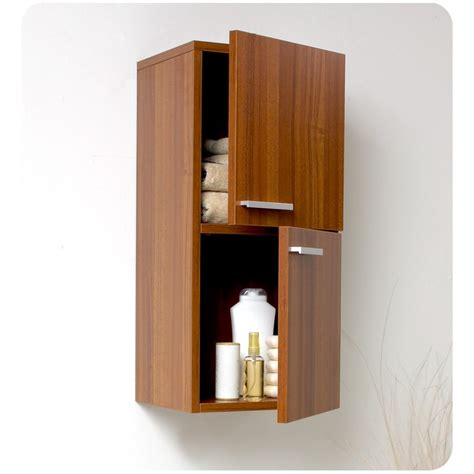 Bathroom Linen Cabinet Storage Fresca Teak Bathroom Linen Side Cabinet W 2 Storage Areas