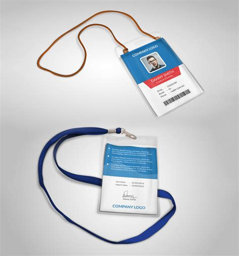 personal id card template multipurpose company id card free psd template