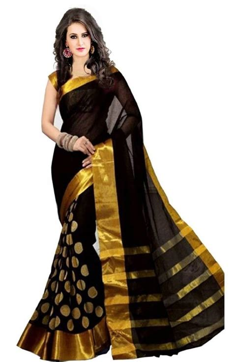 Long Neck Vases Buy Black Golden Goli With Embroidery Work Cotton Saree Online