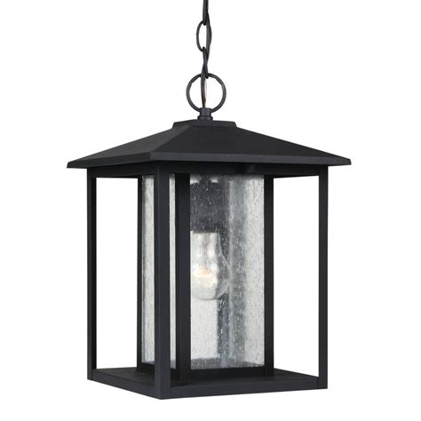 Outdoor Shop Light Shop Sea Gull Lighting Hunnington 13 75 In Black Outdoor Pendant Light At Lowes