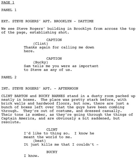 script template writing comics scripting programs