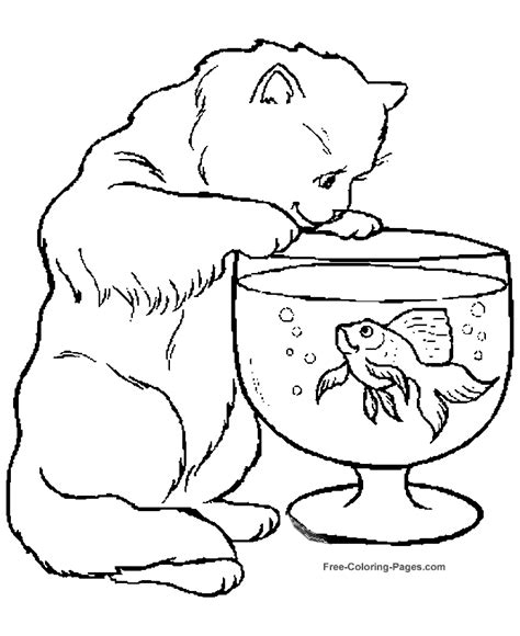 Animal Coloring Pages Cat And Fish Bowl Free Animal Coloring Pages