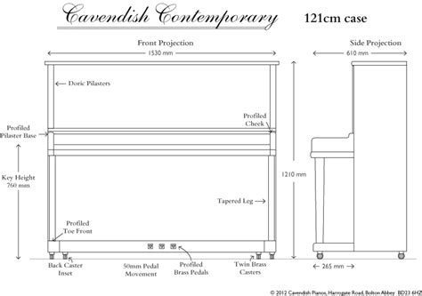 Dealer Floor Plan by New Contemporary Upright Piano From Cavendish