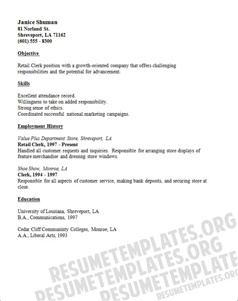 retail sales clerk resume template free download