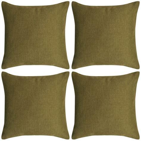 cuscini 80x80 vidaxl set 4 federe per cuscini in simil lino verde 80x80