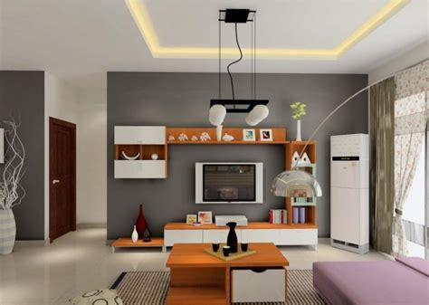 Living room white and grey wall rendering 3d house