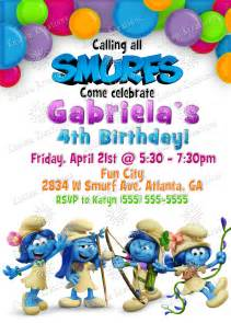 Smurf Baby Shower Invitations by Smurfs Birthday Invitations Kustom Kreations
