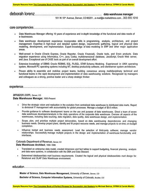 Sample resume data warehouse manager