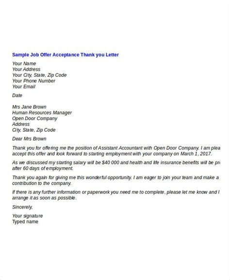 Thank You Letter Accepting Offer offer thank you letter template 7 free word pdf