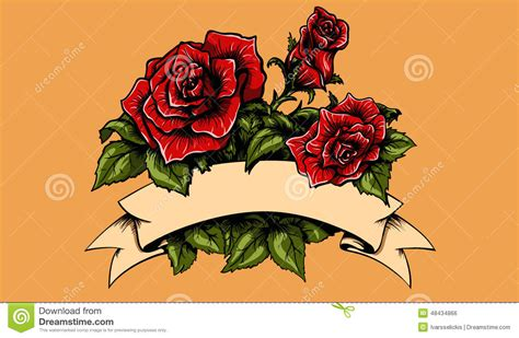 tattoo roses and banner stock vector image 48434866
