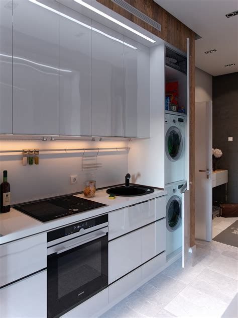 laundry in kitchen bold decor in small spaces 3 homes under 50 square meters