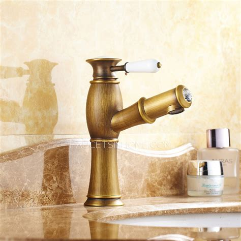 antique brass brushed single bathroom faucet with