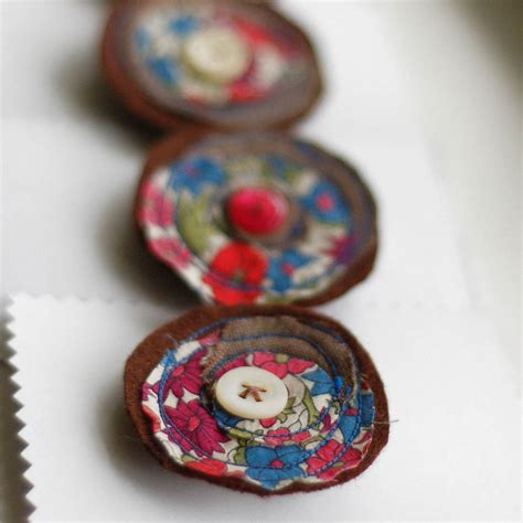 Handmade Flower Brooches - handmade linen and liberty print brooch by handmade at