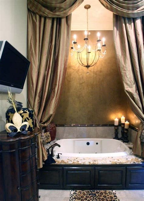 tub curtains sean and beth payton s mandeville home tubs chandeliers