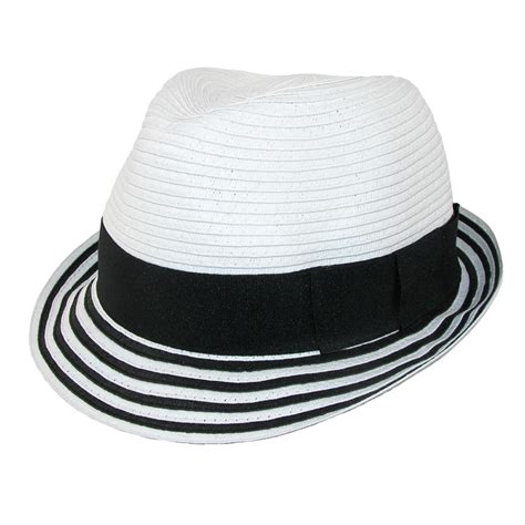 womens paper striped fedora hat by jeanne simmons
