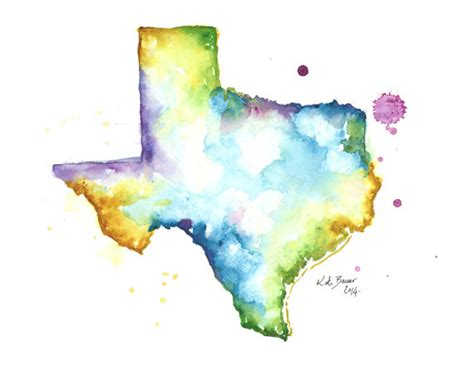 watercolor map tutorial texas map archival print watercolor map by milkandhoneybread