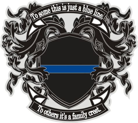 thin blue line family crest reflective decal