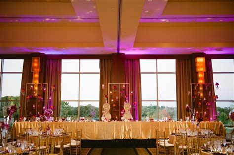 Chic Indian Wedding Reception In Gold And Purple by Yazy