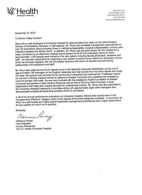 Recommendation Letter Vice President References