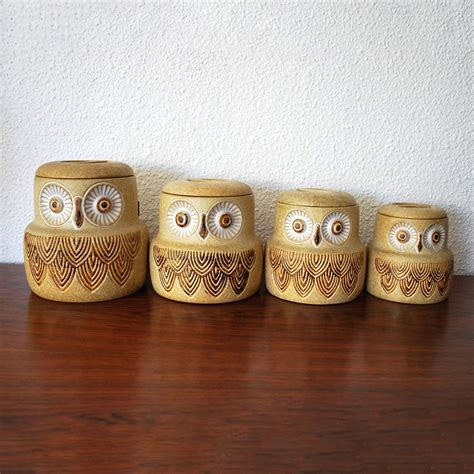 owl canisters vintage owl canisters set of 4 pottery craft these are