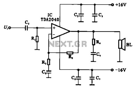 integrated circuit power lifier gt audio gt lifiers gt integrated ocl power lifier circuit composed by the tda2040 l59722