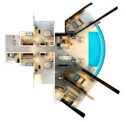 12 Bedroom House Plans home with infinity pool and glass bottomed pool rendered in 3d