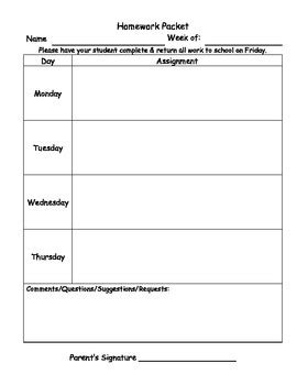 Homework Cover Sheet by Homework Packet Cover Sheet By About School Tpt