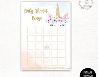 printable unicorn bingo unicorn bingo game etsy