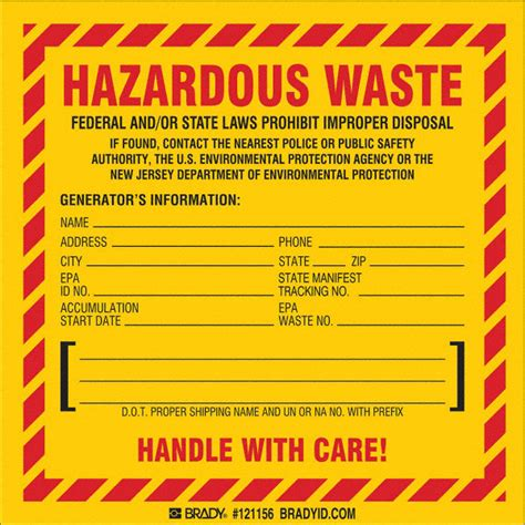 New Carbon Labels Planned By Government by Brady Vinyl Hazardous Waste Label New Jersey Specific 6